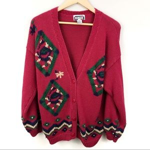 Vintage Gina Peters Red Aztec Knit Cardigan L